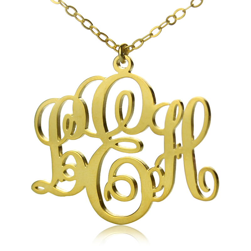 Initial monogram necklace solid gold personalized vine font initial monogram necklace solid gold mozeypictures Choice Image