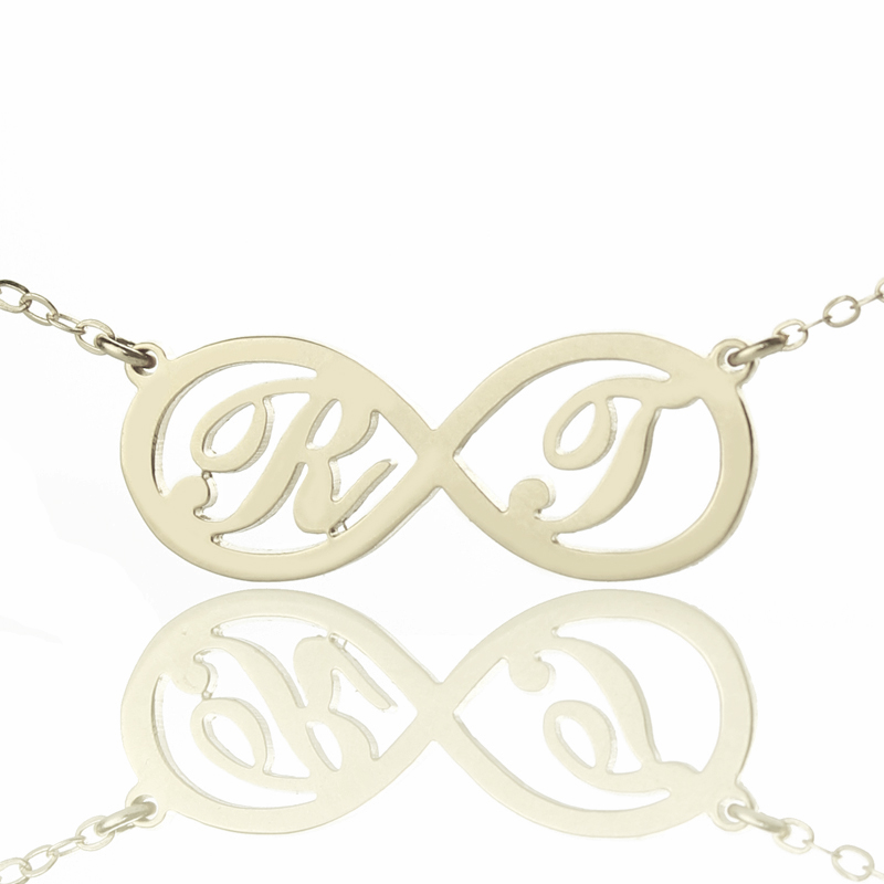 Two Initials Sterling Silver Infinity Symbol Necklace