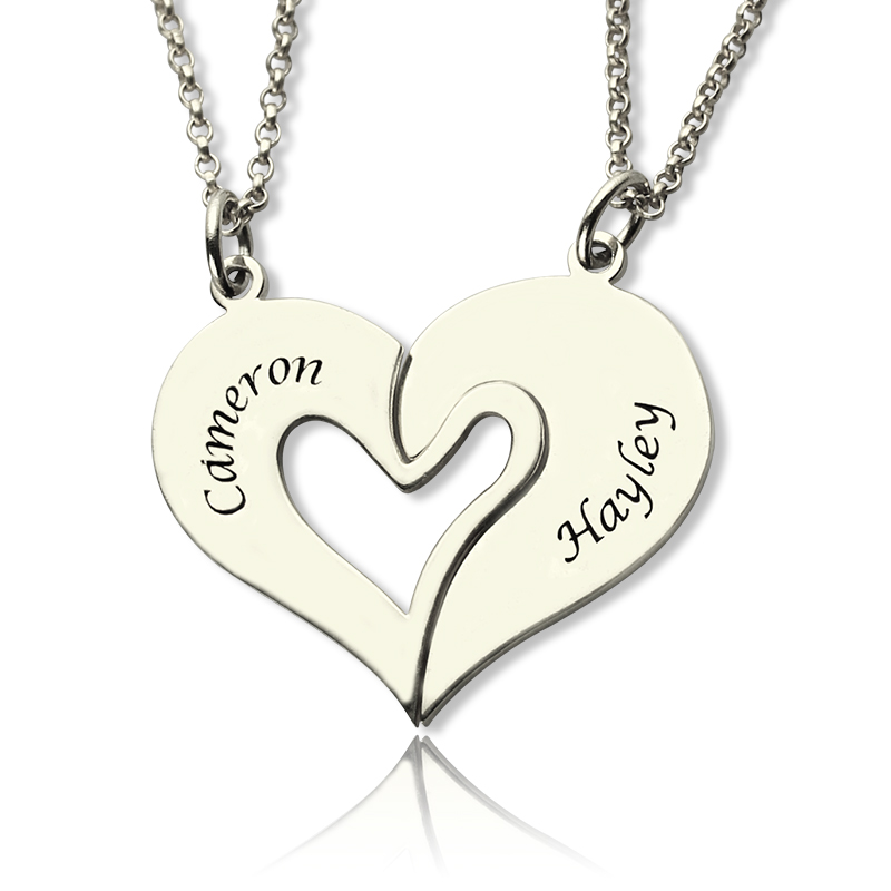 801d4fea81 Personalized Breakable Heart Name Necklace for Couples Silver