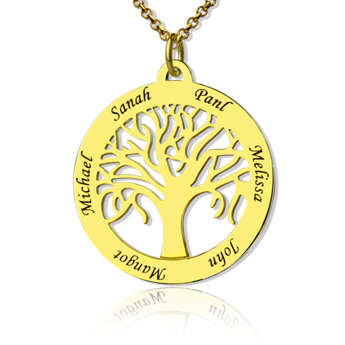 Circle 5 family names tree of life pendant necklace in gold aloadofball Images