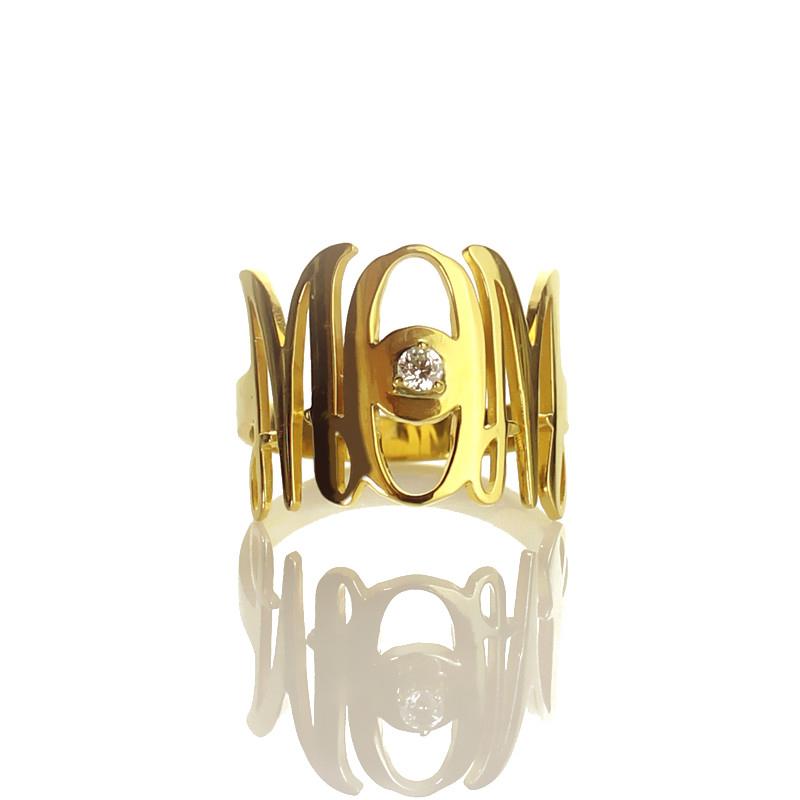 Custom Monogram Initial Ring Birthstone Ring For Mom Gold