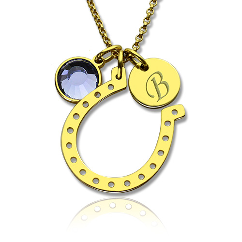 Birthstone horseshoe lucky necklace with initial charm 18k gold plate kidchildren necklace birthstone horseshoe lucky necklace with initial charm 18k gold plate aloadofball Image collections
