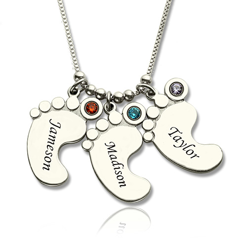 6ec03649d Personalized Mother's Necklace Baby Feet Charm. Video Picture 1/5