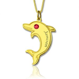 Adorable Dolphin Pendant Name Necklace with Birthstone 18k Gold