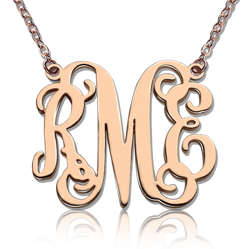 Rose gold monogram initial 3 letters pendant necklace aloadofball Gallery