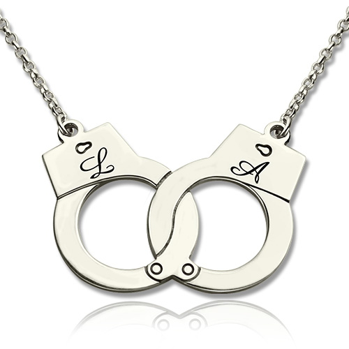 Valentines day present handcuff necklace for couple sterling silver aloadofball Image collections