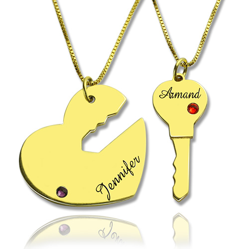 Valentines day gift key to my heart necklaces set key to my heart couple name pendant necklaces gold aloadofball Gallery