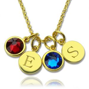 Gorgeous Custom Double Discs Initial Necklace with Birthstones In Gold