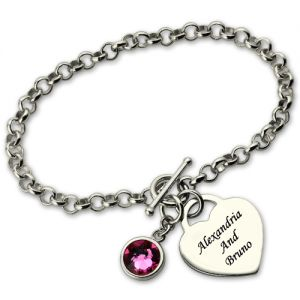 Exquisite Heart Charm Bracelet with Birthstone & Name Sterling Silver