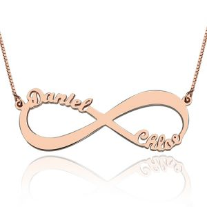 18k Rose Gold Double Name Infinity Necklace