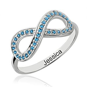 Dazzling Surface Full Birthstones Infinity Promise Name Ring Sterling Silver