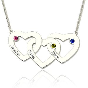Beautiful and fine 3 Intertwined Hearts Birthstones Name Necklace Sterling Silver