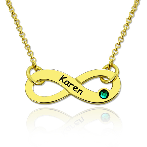 Infinity Symbol Birthstone Name Necklace In Gold