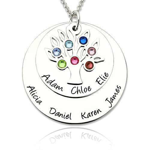 Personalized Silver Disc Family Tree Name Necklace With