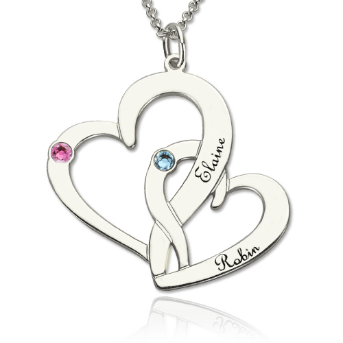 Two hearts mother daughter name necklace aloadofball Image collections
