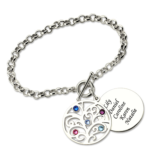 cbb397503ede6 Personalized Family Tree Circle Charm Bracelet Sterling Silver 925
