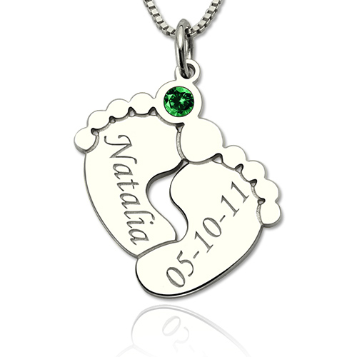 Engraved Baby Feet Birthstone Necklace For Mom Mother Day