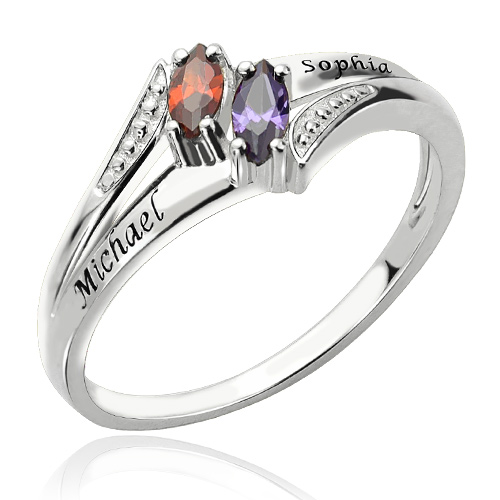Two Names Amp Birthstones Mother S Ring Sterling Silver 925