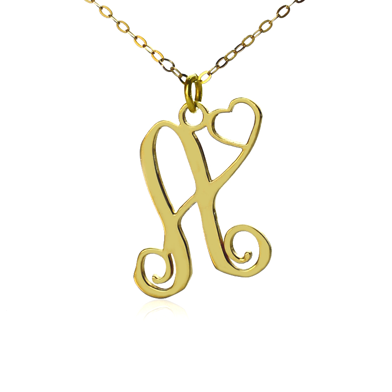 personalized one initial with monogram necklace