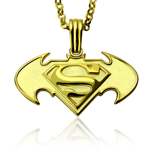 Custom batman vs superman logo necklace for dad in gold mozeypictures Choice Image