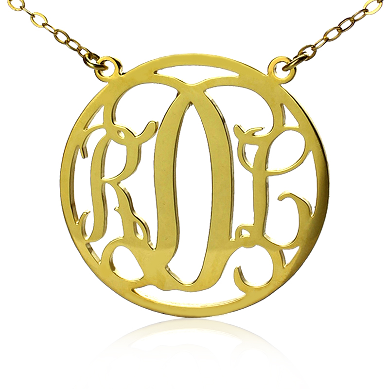 9298d9a0458f2 Circle Solid Gold Initial Monogram Name Necklace