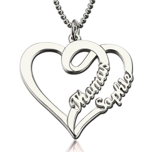 Double heart love necklace with two names sterling silver aloadofball Images