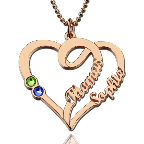 Couple Heart Names Necklace With Birthstones In Rose Gold