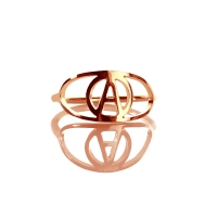 Personalized Eye Ring with Initial Rose Gold