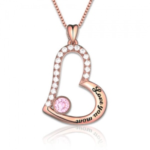 """Love You Mom"" Geburtsstein Halskette Sterling Silber Rose-gold"