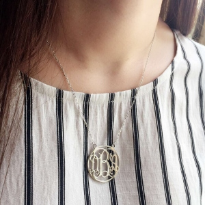 Sterling Silver Circle Classy Font Monogram Necklace