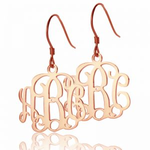 Cut Out Monogrammed Earrings Rose Gold