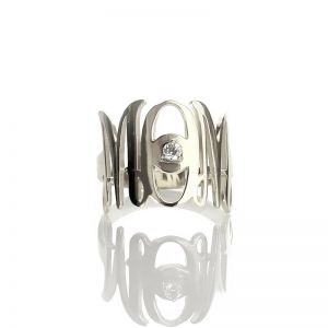 Custom Monogram Initial Birthstone Ring For Mom Sterling Silver