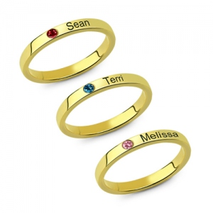 Mother's Stackable Name Ring With Birthstone UK Size