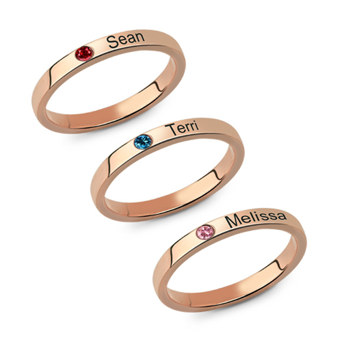 Mother S Stackable Name Ring With Birthstone Uk Size