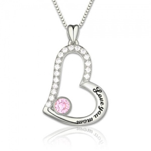 """Love You Mom"" Geburtsstein Halskette Sterling Silber Platium"