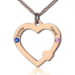 Fashionable Open Heart Necklace with Name & Birthstone Rose Gold