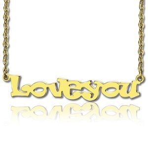 Gold I Love You Cable Chain Name Necklace