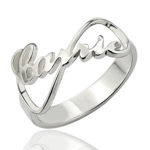 Personalized Infinity Nameplate Ring Carrie Style Sterling Silver