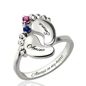 Engraved Baby Feet Birthstone Name Ring for Mom Platinum Plated
