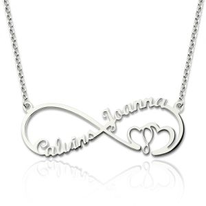 Heart In Heart Knot Name Necklace Sterling Silver