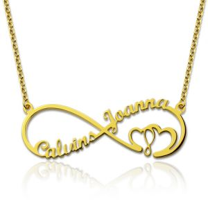 Infinity Heart In Heart 2 Names Necklace Gold Plated Silver