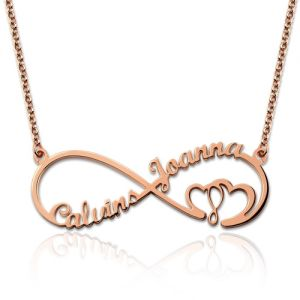 Infinity Heart In Heart 2 Names Necklace In Rose Gold