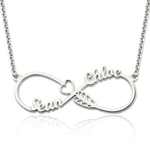 Arrow Infinity Necklace with Names Sterling Silver