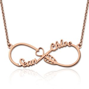 Arrow Infinity Heart Necklace with 2 Names In Rose Gold