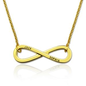 Engraved Infinity Symbol Names Necklace Gold Plated Silver