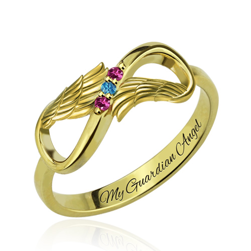 Unique Angel Wings Infinity Ring With Birthstones Gift For Her