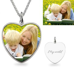 Heart Engraved Mom & Son Picture Necklace Sterling Silver