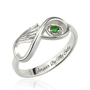 Personalized Ring for Mom with Angel Wings Platinum Plated