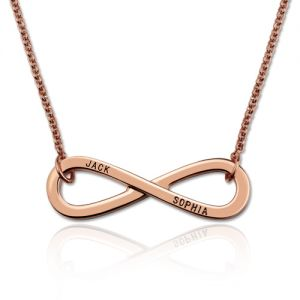 Engraved Infinity Symbol 2 Names Necklace In Rose Gold