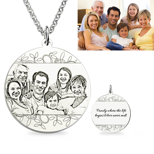 Personalized Family Photo Engraved Necklace Sterling Silver